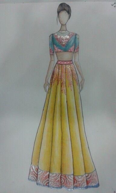 Ravi Lehenga Sketch Fashion Illustration Sketches Fashion Design Portfolio Fashion Sketches