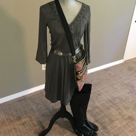 New York & Company dress Jersey type dress with collar details.  Bell sleeves.  Can be worn casual or out, very comfortable.  Pair with over the knee boots, super cute.  Worn a couple of times. New York & Company Dresses