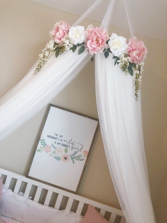 Serene Floral Crib Canopy // Bed Crown