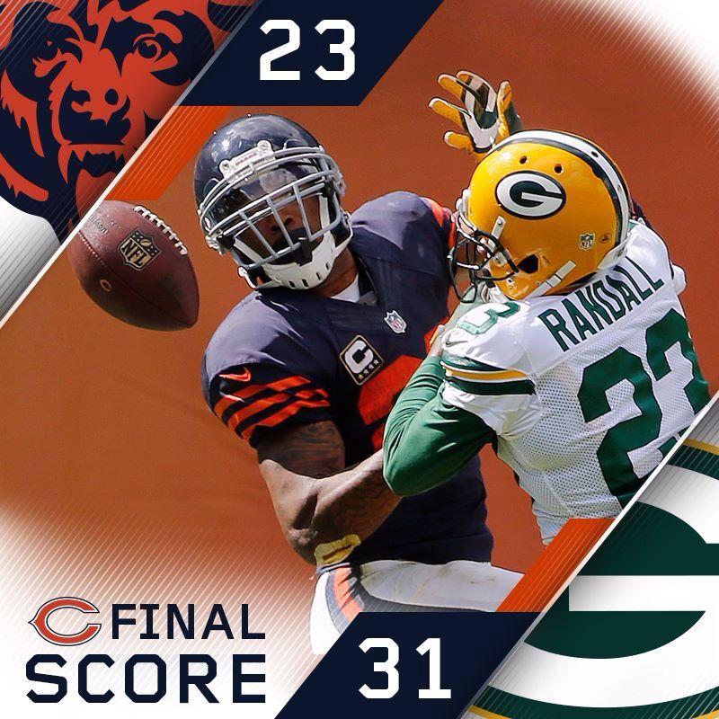 Final Score Bears 23 Packers 31 Chicago Bears Football Helmets Bears Packers