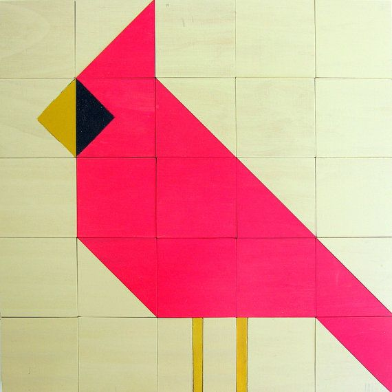 Wooden quilt block cardinal sewing and quilting