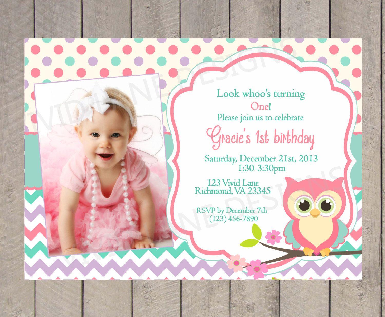 Owl Birthday Invitation Girl First Birthday by VividLaneDesigns ...