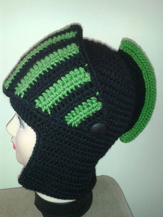 Knight crochet hatMen\'s Hat Crocheted Knight Helmet by modishknit ...