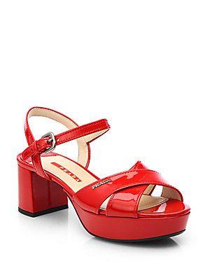 5af1fefd236 Prada Patent Leather Crisscross Platform Sandals