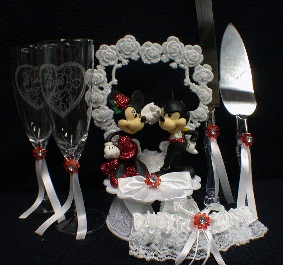 mickey minnie mouse wedding cake topper lot glasses knife set