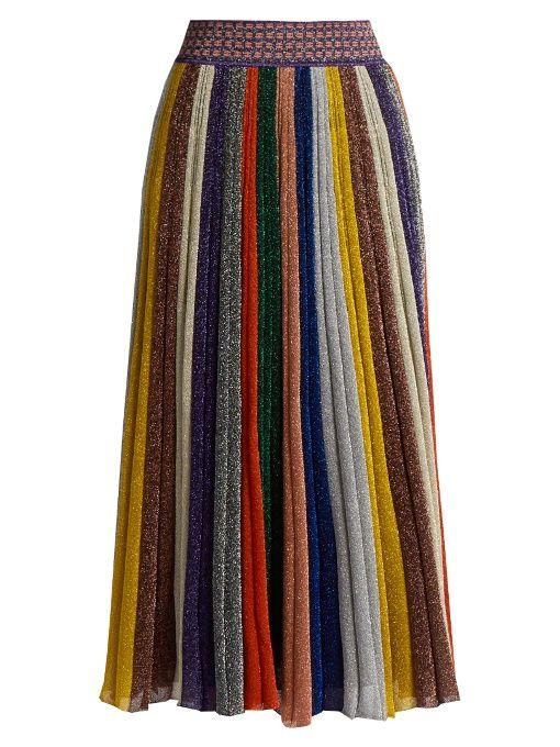 fb87b88d31 Missoni Pleated striped wool-blend midi skirt Womens Metallic-purple and  pink Clothing Skirts [1081920]