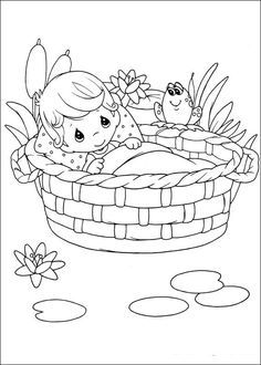 precious moments miriam and moses coloring - google search ... - Baby Moses Coloring Page Printable