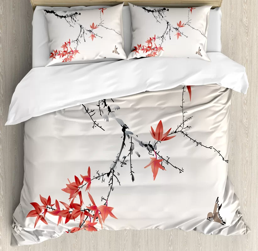 East Urban Home Floral 3 Piece Duvet Cover Set Duvet Cover Sets Japanese Decor Duvet Covers