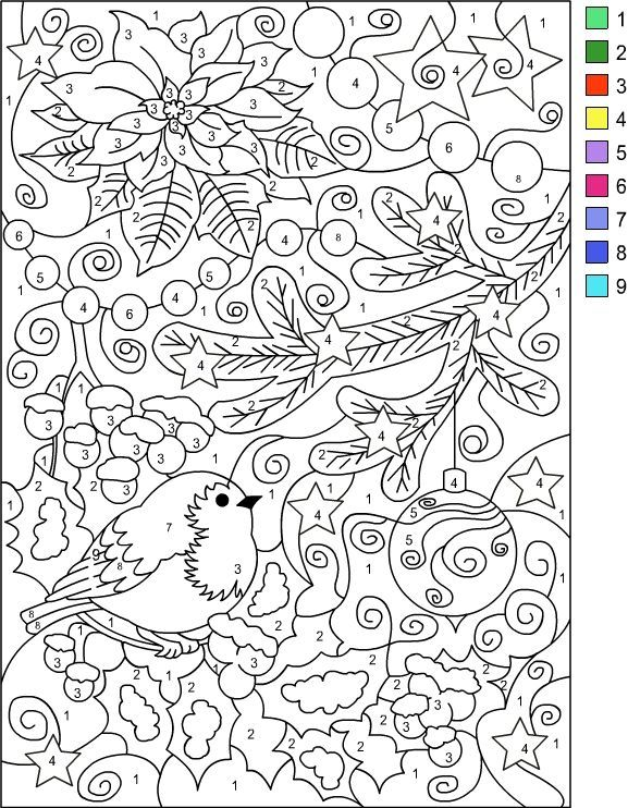 Nicole\'s Free Coloring Pages: COLOR BY NUMBER WINTER * Coloring page ...