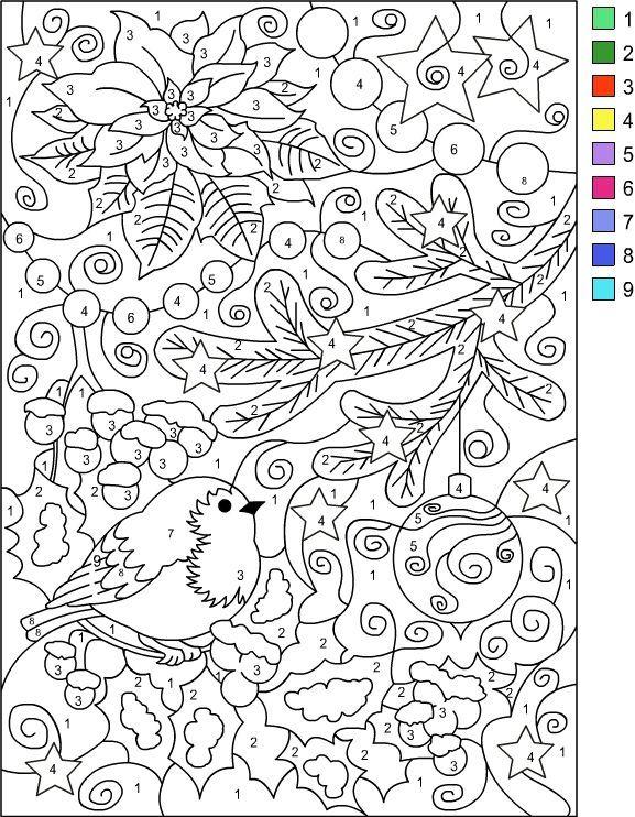 Nicole S Free Coloring Pages Color By Number Winter Coloring Page Kleuren Met Nummers Kerstwerkbladen Kerstmis Kleuren