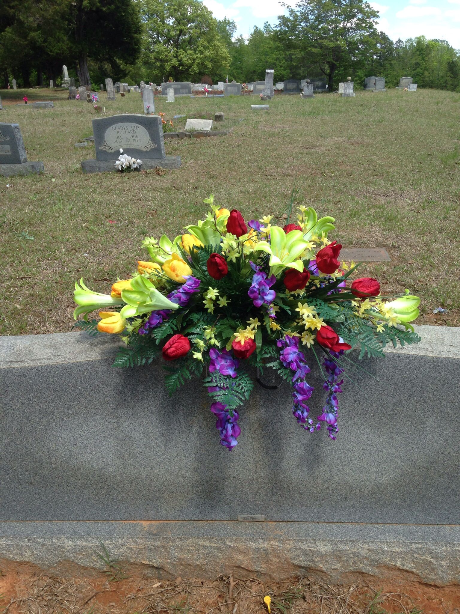 Fibre optic christmas flowers and xmas flowers - Mixed Spring Summer Tomb Topper Using Color Blocking Style Cemetery Flowersmemorial
