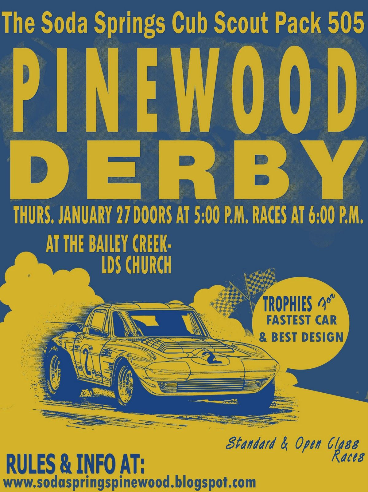 Copy of the flyer so anyone can get the basic info about for Boy scouts pinewood derby templates