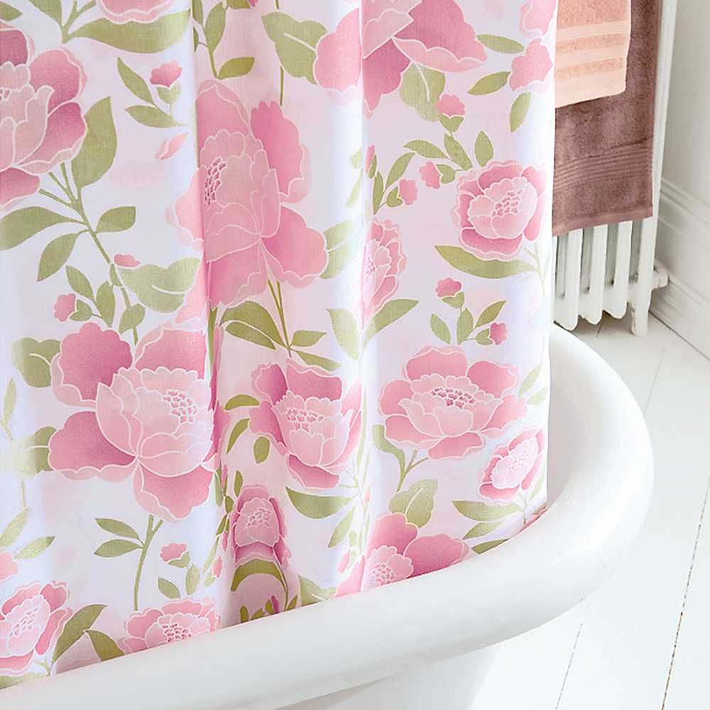 Pink and green bathroom decor - Bathroom Decor Girly Thanksgiving Shower Curtain With With White Color Base