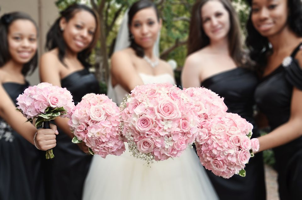 Wedding Bouquets idea. Pink Roses with Black Satin Bridesmaid ...