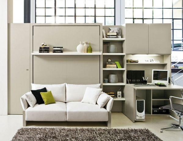 wohnideen raumsparendes klappbett sofa arbeitsecke | klappbett, Innenarchitektur ideen