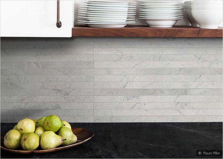 light gray subway backsplash tile