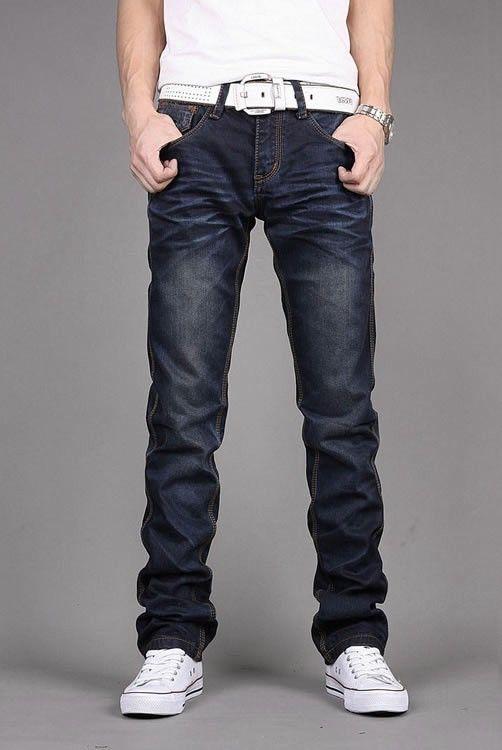 Korean Slim Men Slim Zipper Straight Jean Leisure Pants XS/S/M/L/XL/XXL/XXXL @S0H173-1