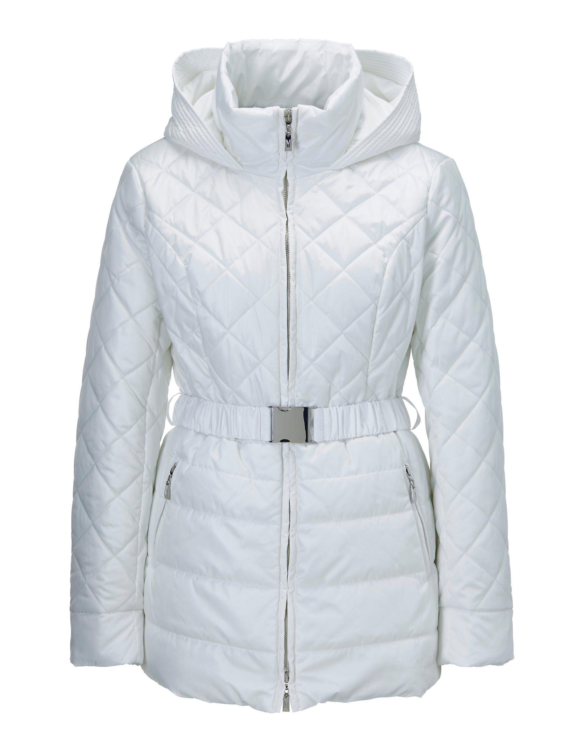 Lange Steppjacke mit Kapuze in weiß MADELEINE Gr 44, wollweiß für Damen. Polyester. Reinigung