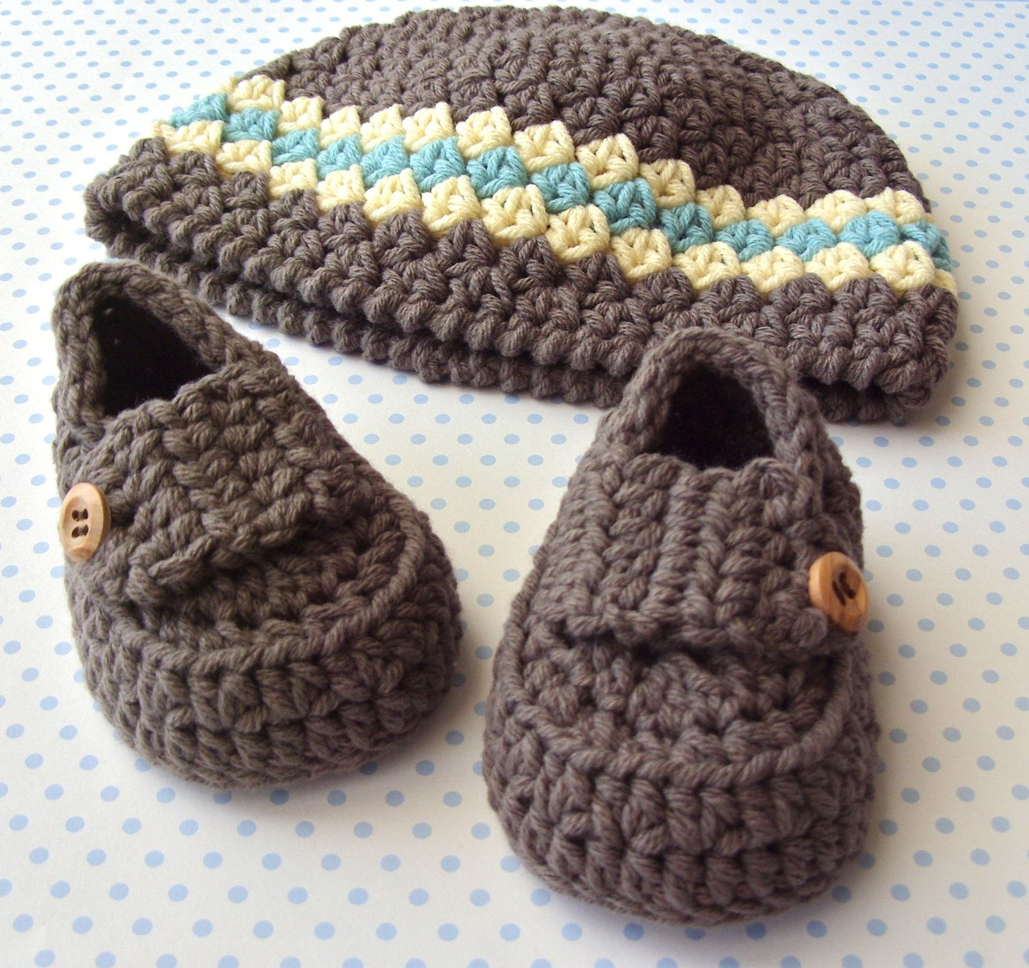 Baby Boy Shower Set Loafer Bootie Shoes Brown Beanie Hat Modern