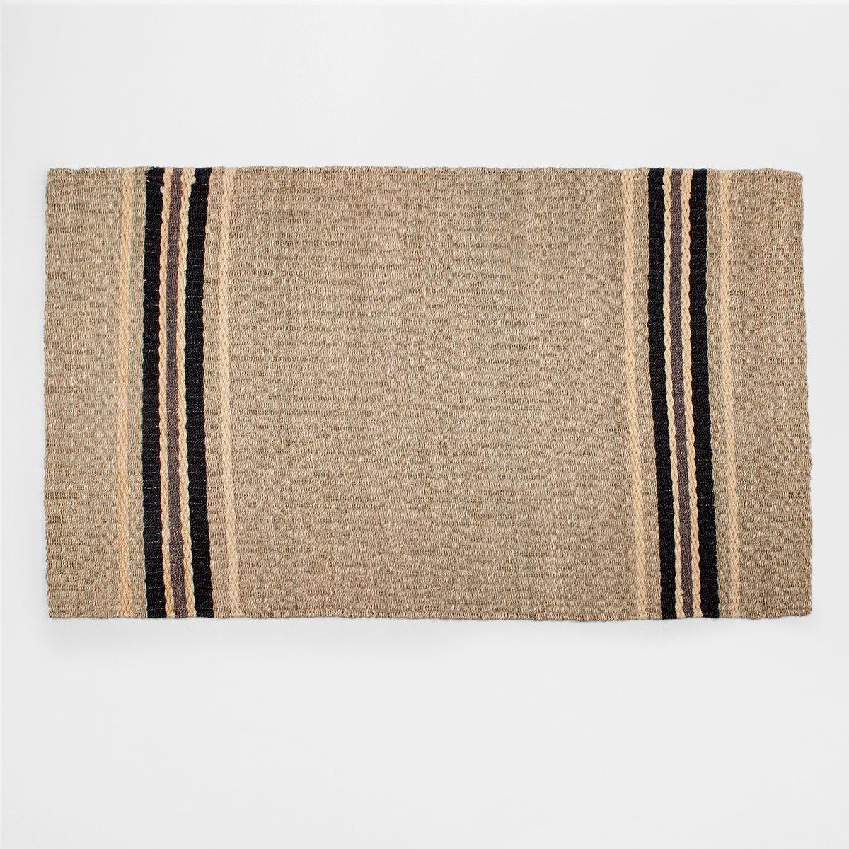 Afbeelding 1 van het product Zwart gestreept tapijt van natuurlijke vezels