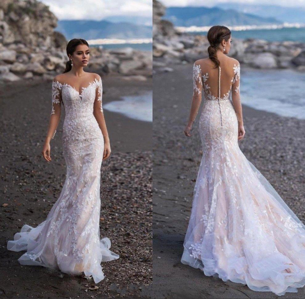 Mermaid Wedding Dresses 2019 Lace Half Sleeves Appliqued Sweep Stain Bridal Gowns Beach Wedding Dress Vestido De Novia Sencillo In 2020 Wedding Dresses Dream Wedding Dresses Wedding Dresses Lace [ 971 x 990 Pixel ]