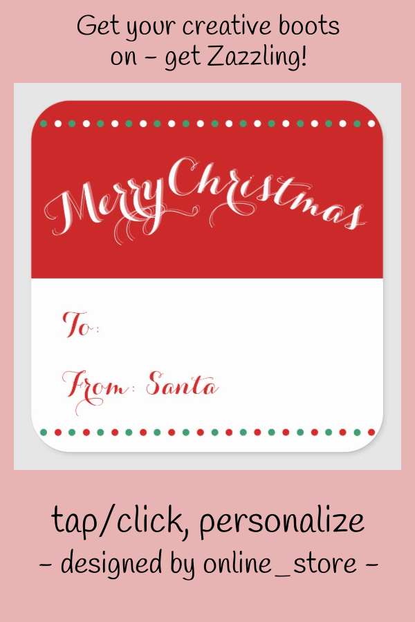 Personalized White Red Square Christmas Gift Tags