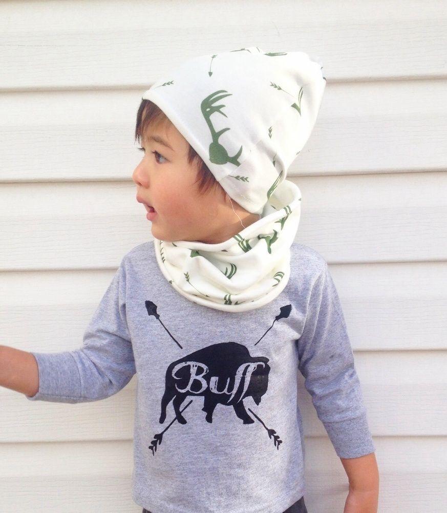 """Buff"" Bison tee, beanie, circle scarf by Les Petits Darlings"