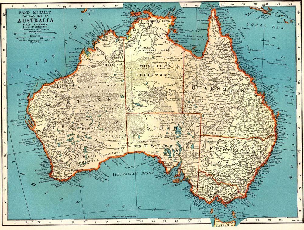 1939 Antique Australia Map Vintage Map Of Australia Gallery Wall Art 2828 Australia Map Antique Map Antique Maps