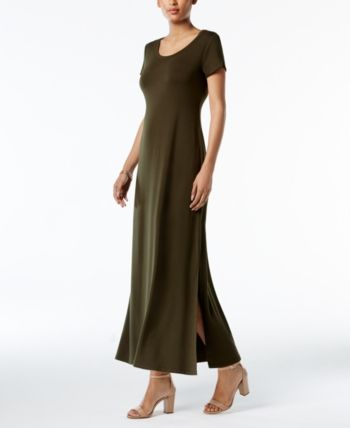 a6e725b42688 Style & Co Petite Scoop-Neck Maxi Dress, Created for Macy's - Green P/XS
