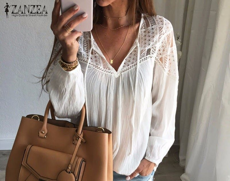 a49953884ba Buy Online ZANZEA Autumn 2018 Women Shirts Casual Loose Patchwork Lace  Crochet Blouses Sexy V Neck Long Sleeve Blusas Tops Plus Size  shirt  tshirt