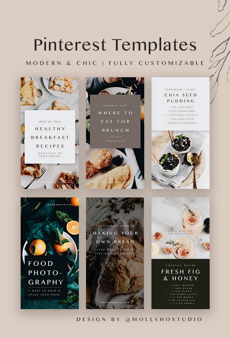 Food Bloggers Pinterest Template Set パンフレット デザイン プレゼンテーション デザイン リーフレット