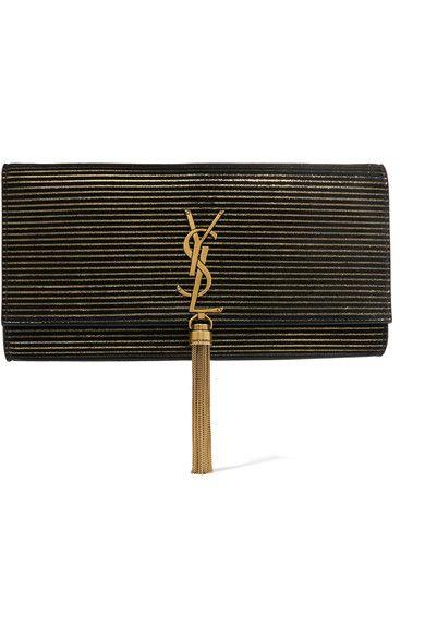 81570cfd34 SAINT LAURENT Monogramme Kate Metallic-Striped Suede Shoulder Bag.   saintlaurent  bags  shoulder bags  suede  metallic