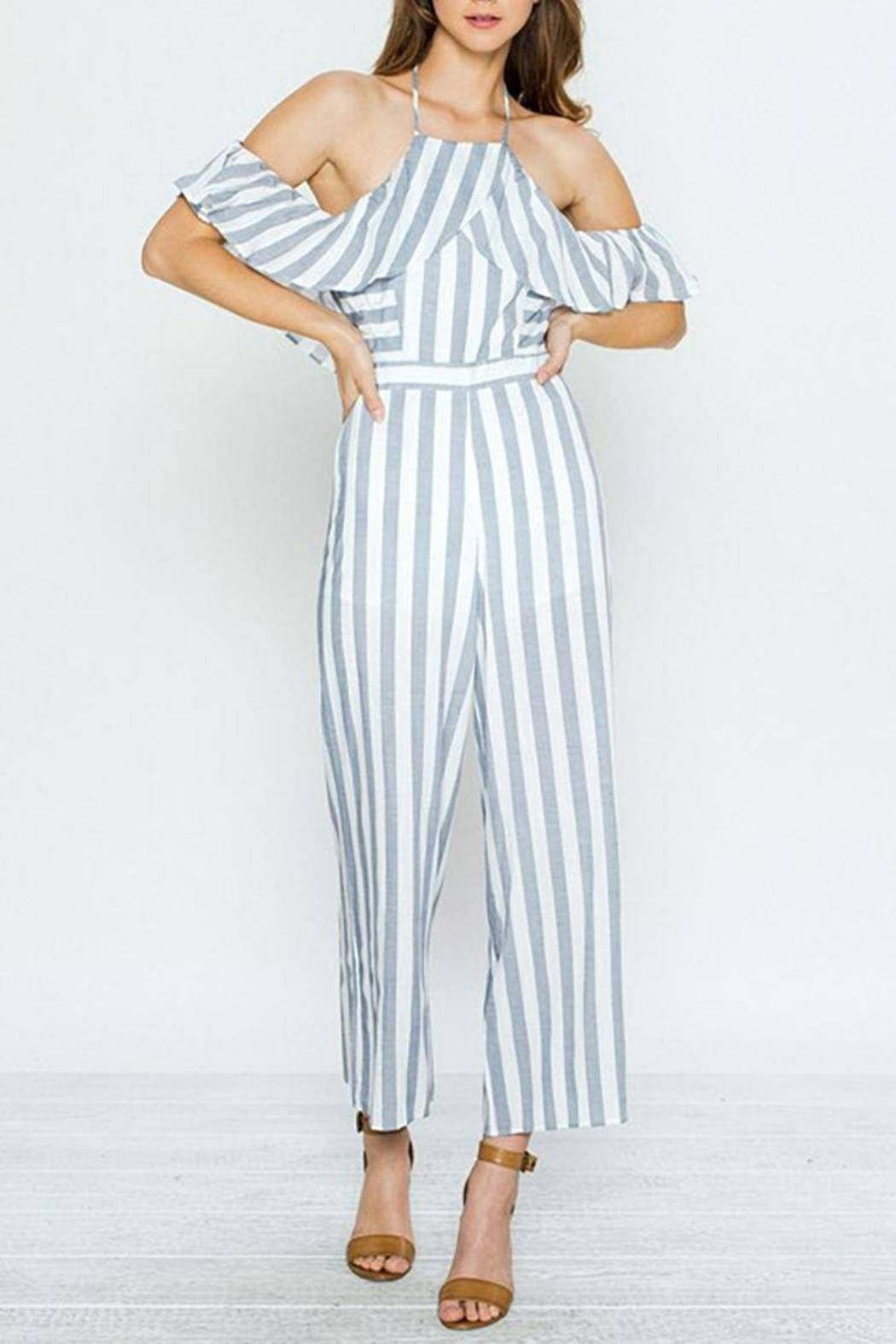 768bb7f326d24 Adjustable tie straps around neck. The jumpsuit is lined. Striped Ruffle  Jumpsuit by Jealous Tomato. Clothing - Jumpsuits & Rompers - Jumpsuits  Virginia