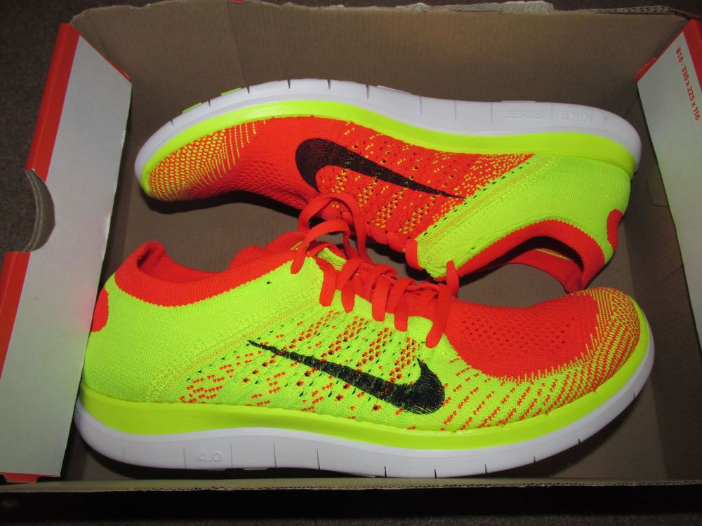 Nike Free Flyknit 4 0 Mens Running Shoes 10 5 Bright Crimson Volt 631053 602 Running Shoes For Men Nike Men Nike