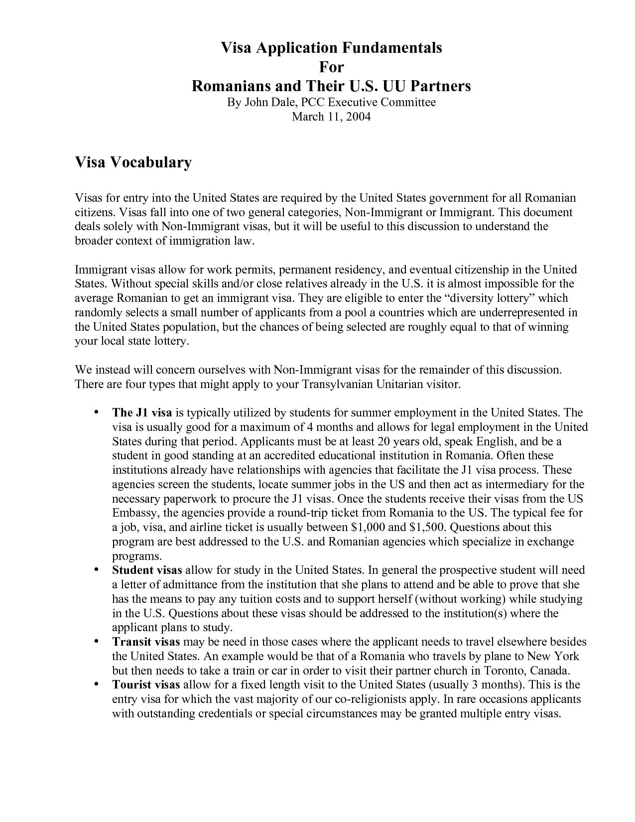 USA Visa Invitation Letter Sample