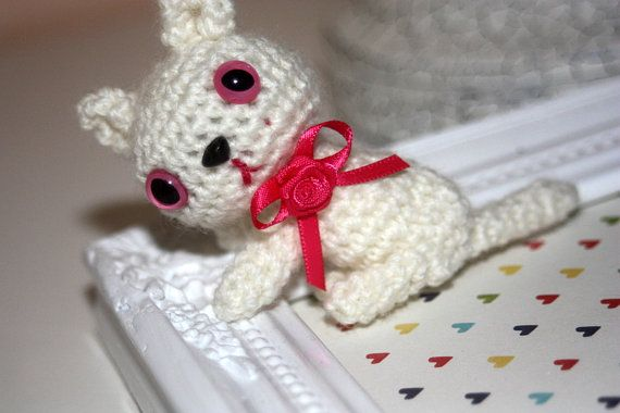 Miniature Crochet Kitten White with pink eyes by kylieB on Etsy, $18.00
