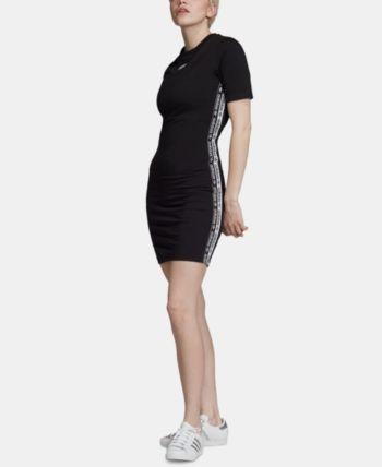 adidas Originals Logo T Shirt Dress Black XL | Striped t
