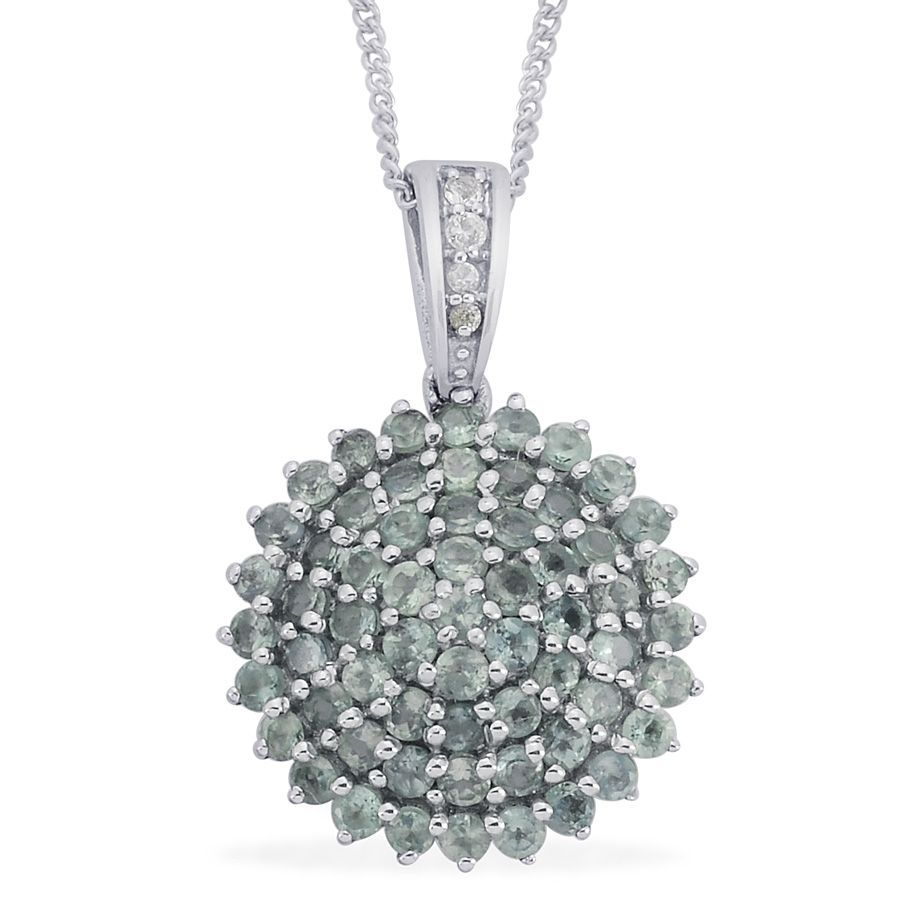 Liquidation Channel | Narsipatnam Alexandrite and White Topaz Pendant with Chain in Platinum Overlay Sterling Silver (Nickel Free)