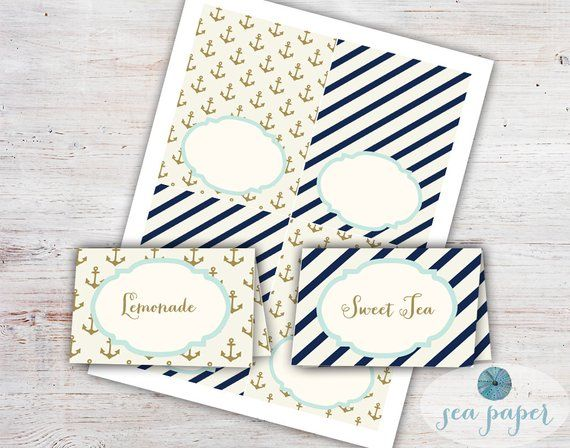 e1a5fecf1da7 Bay Printable Buffet Cards - Food Labels - Meal Cards - Nautical Navy  Stripes and Gold Anchors - Bea