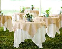 Qty 4 Burlap Toppers 50\'\'x50\'\' - Set of 4 Burlap Table Toppers ...