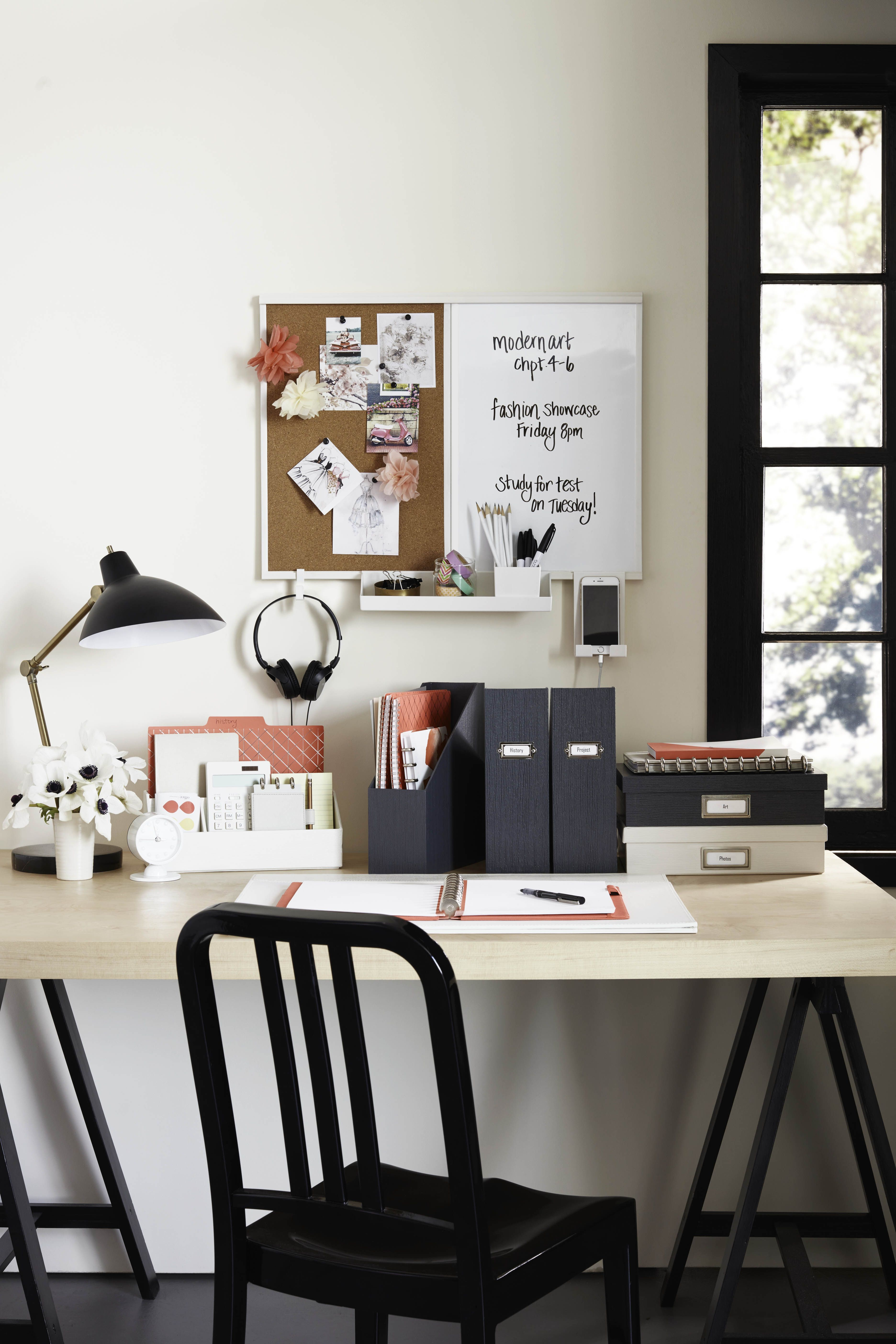 Who 39 s ready to get organized with this creative solution for Creative desk solutions