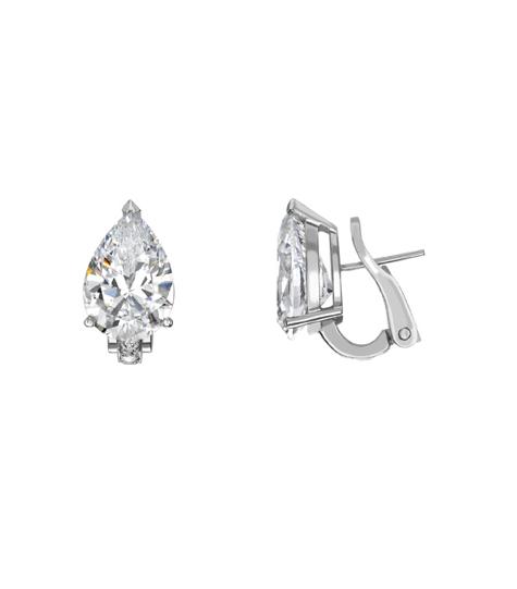Drop shaped diamond earrings.