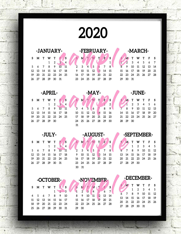 Printable 2020 Calendar Digital Download Simple Black