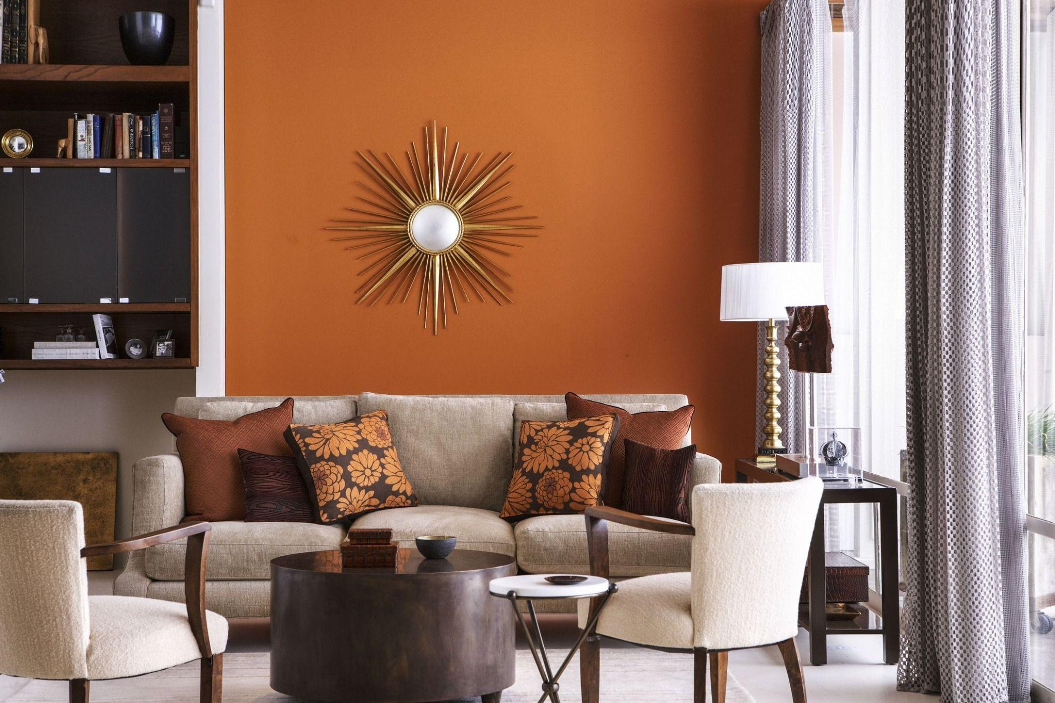 warm color scheme living  orange living room walls