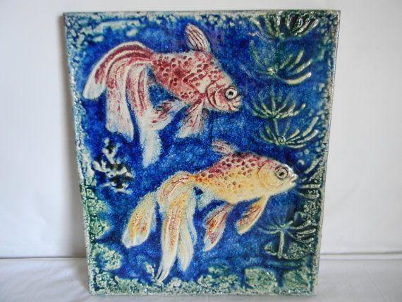 Vintage MId Century Carlsruhe Pottery Tile Art by AustinMetroRetro