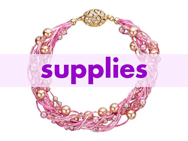 WireLace Pink Swirls of Pearls Bracelet Supplies