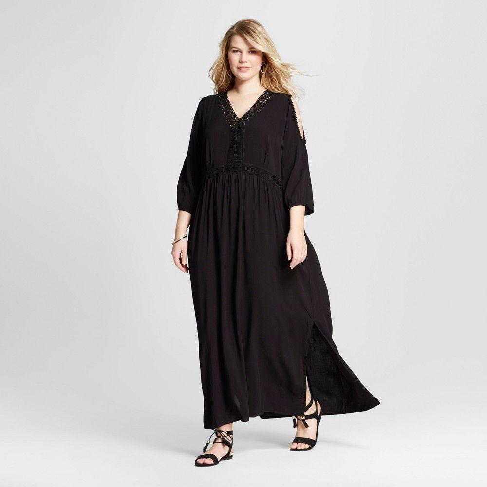 Women's Plus Size Cold Shoulder Maxi Dress Black