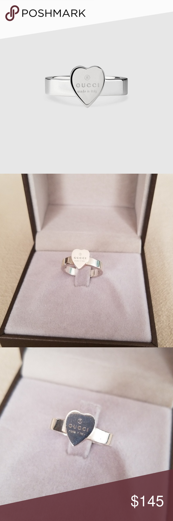 d792050d5ac9e Gucci Trademark Heart Ring sz 6.5 Awesome, Authentic Heart Ring with ...