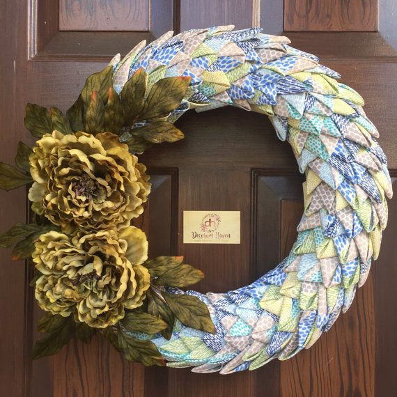 Petal Wreath, Folded Fabric, Swedish Braid Fabric Wreath