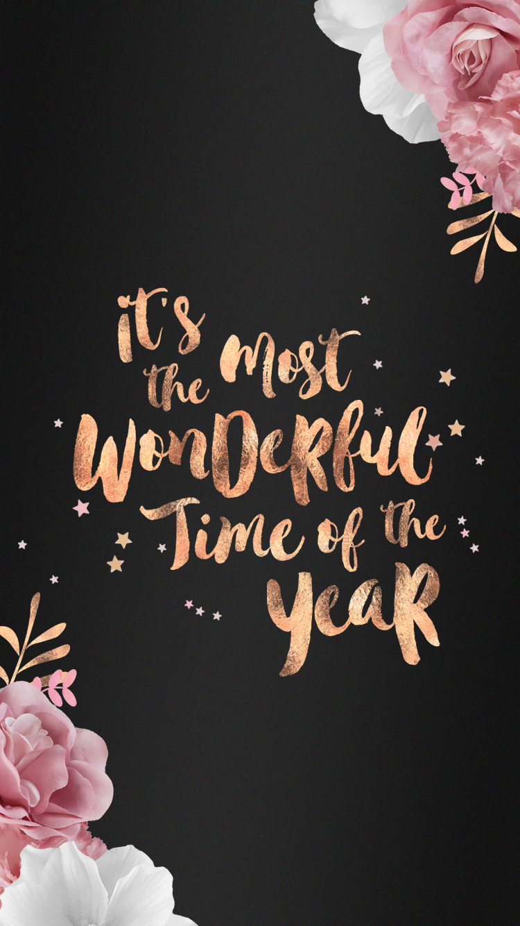 Free Rose Gold Festive Wallpapers Typographies Iphone
